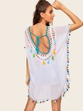 Tie Back Tassel Detail Crochet Yoke Cover Up