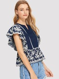 Ladder Lace Insert Embroidered Ruffle Top