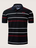 Men Striped Letter Embroidery Polo Shirt