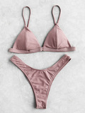 Seam Detail Triangle Bikini Set