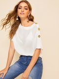 Buttoned Detail Sheer Top