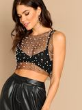 Pearl Beading Diamond Mesh Top Without Bralette
