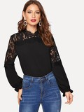 Floral Lace Yoke Frilled Cuff Blouse