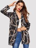 Chain Print Single Breasted Blazer
