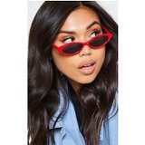 Red Frame Black Lens Slim Cat Eye Sunglasses