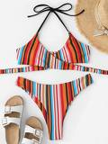 Random Striped Wrap Top With High Cut Bikini Set