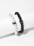 Men Marble Pattern Beaded Bracelet Set 2pcs