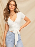 Crop Wrap Belted Fitted Top
