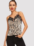 Lace Trim Buttoned Snakeskin Cami Top