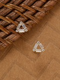 Crystal Baguette Shaped Triangle Stud Earrings