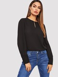 Curved Hem Button Detail Blouse