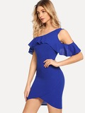 One Shoulder Ruffle Detail Wrap Solid Dress