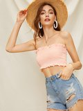 Shirred Solid Tube Top
