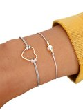Heart Decor String Bracelet 2pcs