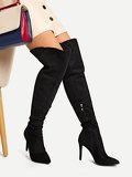 Point Toe Thigh High Suede Boots