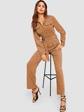 Corduroy Belted Collar Utility Jumpsuit