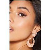 Rose Gold Textured Irregular Shaped Door Knocker Earrings