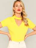 Open Front Neon Yellow Tee