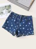Star Pattern Denim Shorts