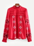 Geo Embroidered Lace Panel Blouse