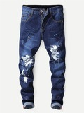 Men Letter Print Paint Splatter Jeans