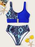 Snake Skin Print Buckle Front Top With High Waist Bikini