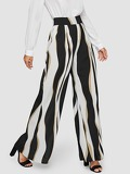 Wide Waist Color Block Wide Leg Pants