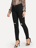 Knee Rips Raw Hem Jeggings
