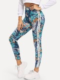 High Waist Tropical Print Leggings