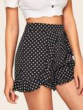 Polka Dot Ruffle Trim Shorts