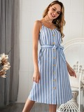 Button Through Striped Belted Cami Dress