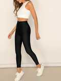 Buttoned Waist Solid Crop Leggings