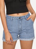 Pocket Detail Rolled Hem Denim Shorts