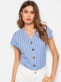Single Breasted V-neck Stripe Top