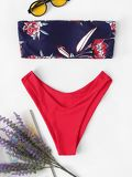 Flower Print Bandeau With High Leg Bikini Set