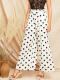 Paperbag Waist Polka Dot Wide Leg Pants