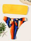 Bandeau With Striped Self Tie High Cut Bikini
