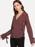 Striped Knot Detail Wrap Blouse