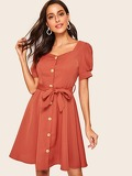 Button Front Puff Sleeve Sweetheart Neck Belted Dress