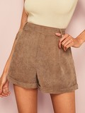 Slant Pocket Roll Up Hem Cord Shorts