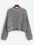 Stepped Hem Crop Jumper