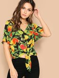 Flutter Sleeve Knot Front Tropical Print Top