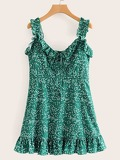 Ditsy Floral Smocked Back Frill Cami Dress