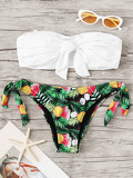 Knot Front Bandeau With Tropical Tie Side Bikini