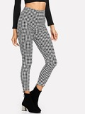 Houndstooth High Waist Pants