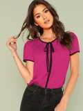 Knotted Front Keyhole Back Contrast Binding Top