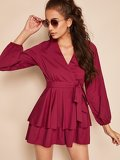 Surplice Neck Self Belted Layered Hem Romper