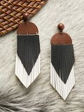 Faux Leather Three Toned Feather Earrings