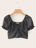 Square Neck Polka Dot Crop Blouse