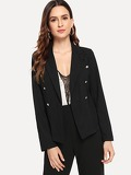 Notched Collar Button Detail Blazer